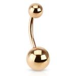 Rose Gold IP Basic Belly Bar Navel Ring 14GA