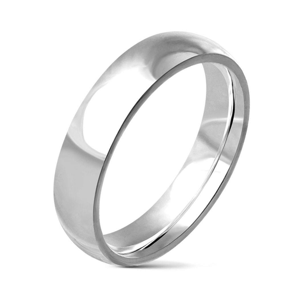 Traditional Wedding Band Ring Glossy Mirror Polished Stainless Steel